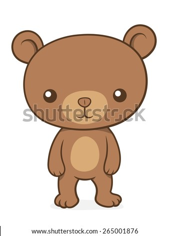 Cute little brown bear cub teddy standing upright facing the camera suitable for kids, cartoon vector illustration - stock vector