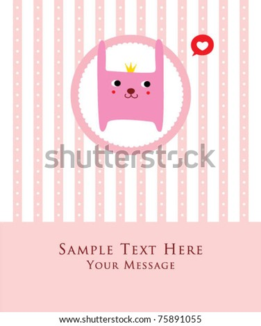 cute little bunny princess doodle greeting card