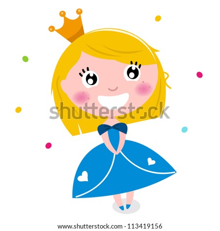 Cute little cartoon princess isolated on white - stock vector