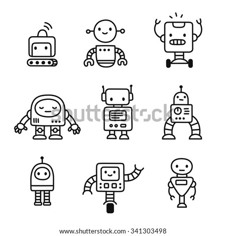 Cute little cartoon robots set hand stock vector 341303498 for Cute little doodles to draw