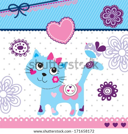 cute little cat and bird invitation card vector illustration - stock vector