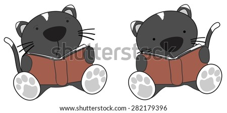 cute little cat reading cartoon set in vector format very easy to edit - stock vector