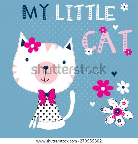cute little cat with flowers, T-shirt design vector illustration - stock vector