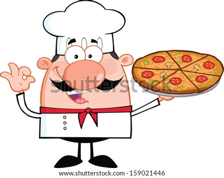 Cute Little Chef Cartoon Character Holding A Pizza Pie. Vector Illustration Isolated on white - stock vector
