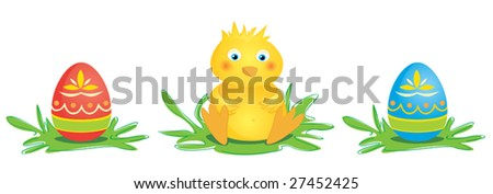 Cute, little chick with two colored Easter eggs. Vector.