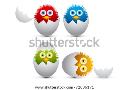Cute Little Chicks - stock vector