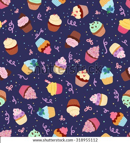 Cute little cupcakes seamless pattern on deep blue background - stock vector