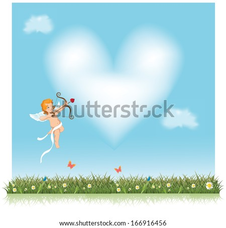 Cute little cupid aiming an arrow at a heart shaped cloud. EPS 10 vector, grouped for easy editing. No open shapes or paths. - stock vector