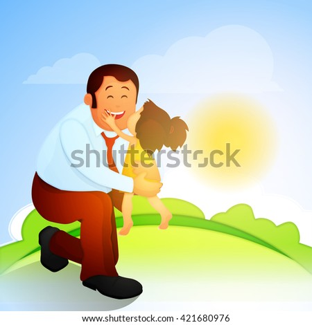 Cute little daughter kissing her father on beautiful nature background on occasion of Father's Day celebration. - stock vector