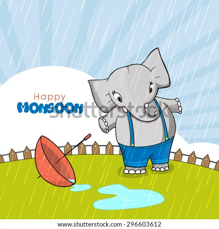 Cute little elephant with umbrella standing and enjoying rains on rays background for Happy Monsoon concept. - stock vector