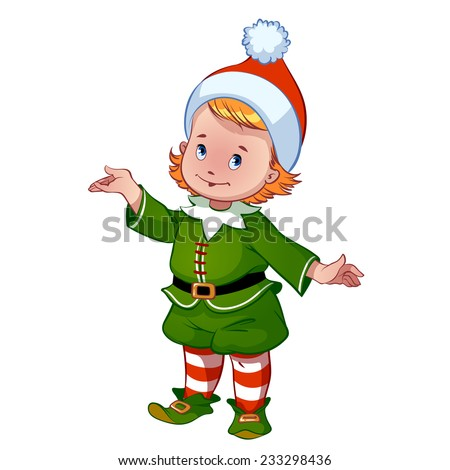 Cute little elf santa claus helper with outstretched hand vector