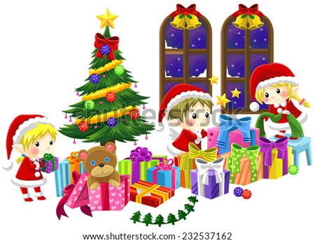 Cute little elves are celebrating Christmas in isolated background, create by vector - stock vector