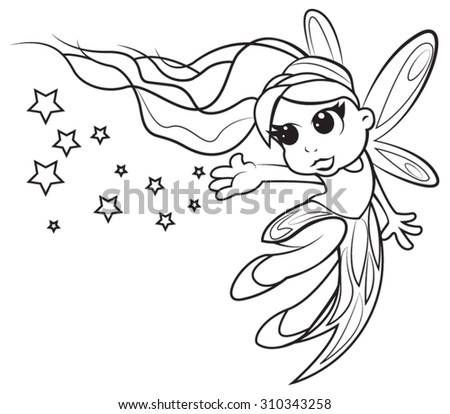 Cute little fairy girl coloring page stock vector for Cute fairy coloring pages