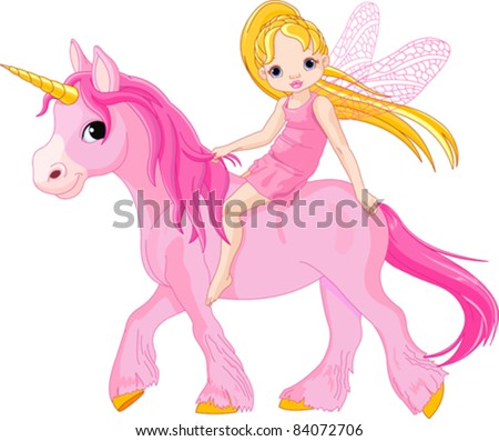 Cute little fairy riding on a unicorn