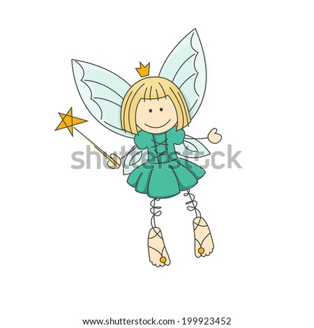 Cute little fairy with magic wand. Vector illustration isolated on white background.