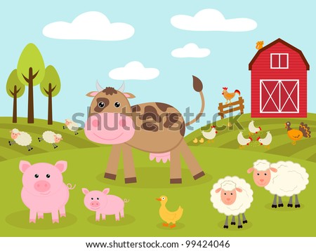 Cute little farm - stock vector
