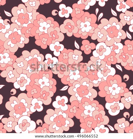 cute little flowers seamless vector pattern. floral vector background