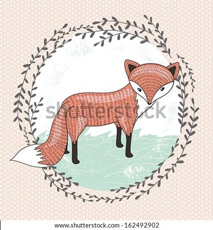 Cute little fox illustration for children. - stock vector