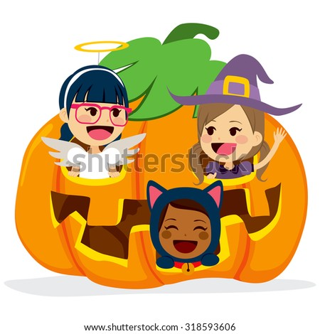 Cute little friends children inside big Halloween pumpkin - stock vector