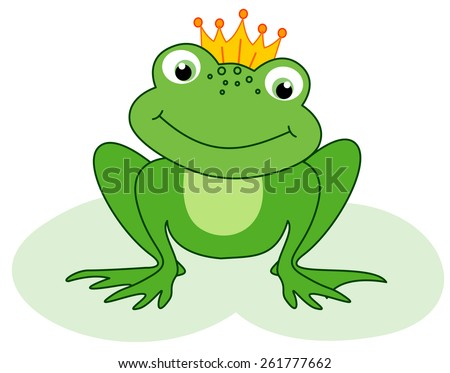 Cute little frog prince with a golden crown on its head illustration  - stock vector