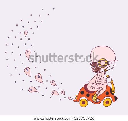 cute little girl goes on a child's bike - Ladybird - stock vector