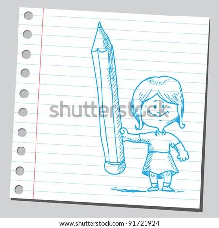 Cute little girl holding pen - stock vector
