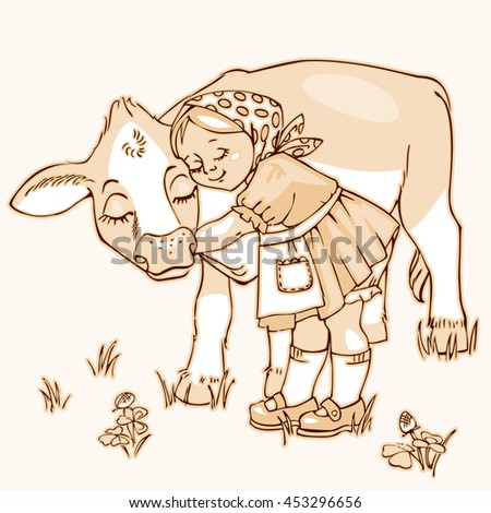 Cute little girl hugging cow