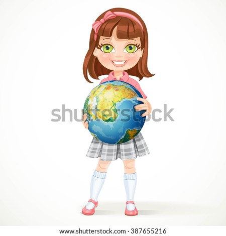 Cute little girl in school uniform holding a globe in his hands. Earth Day