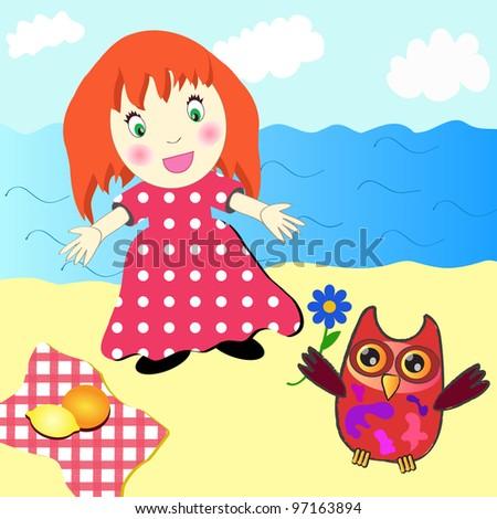 Cute little girl picnic on the beach - stock vector