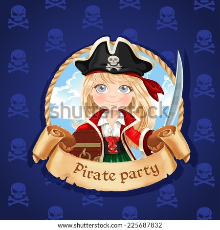 Cute little girl pirate with treasure chest. Banner for Pirate party - stock vector