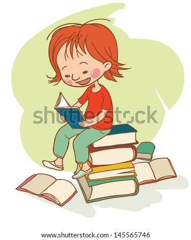Cute little girl reading on the pile of books. Back to School. Children illustration for School books and more. Separate Objects. VECTOR illustration. - stock vector