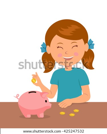 Cute little girl standing at the table puts coins in a piggy bank and dreams of buy something. The concept of saving money baby. - stock vector