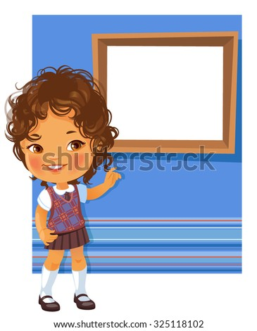 Cute little girl wearing school uniform. Schoolgirl pointing at white  text frame . Blue striped background with place for text.. Design of card, invitation, book, notepaper cover. - stock vector