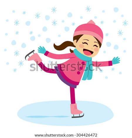 Cute little girl wearing warm winter clothes ice skating on frozen surface - stock vector