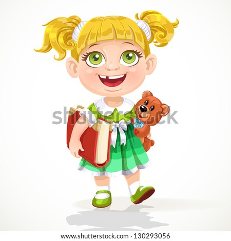 Cute little girl with a teddy bear and a book under his arm - stock vector