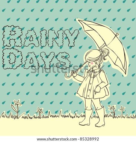Cute little girl with an umbrella in rain - stock vector