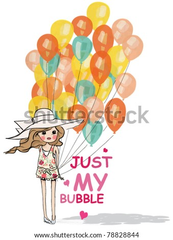 Cute  little girl with balloons - stock vector