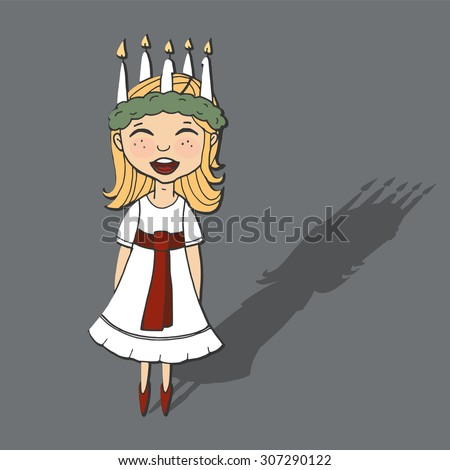 Cute little girl with wreath and candle crown, Saint Lucia, Swedish christmas tradition, vector illustration background