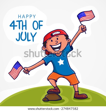 Cute little happy boy enjoying and celebrating on occasion of 4th of July, American Independence Day with national flag. - stock vector
