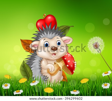 Cute little hedgehog sitting in the beautiful grass background - stock vector