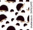 Cute little hedgehogs - stock vector