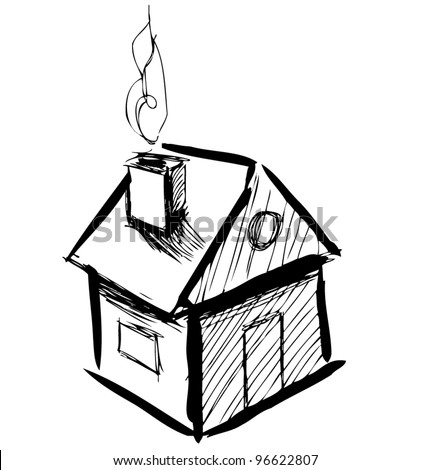 Cute little house with smoke sketch vector illustration - stock vector