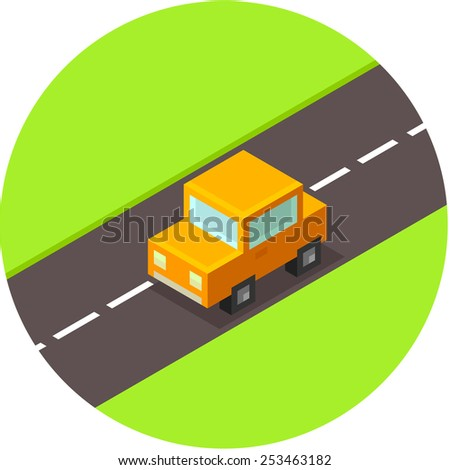 cute little isometric car in circle - stock vector