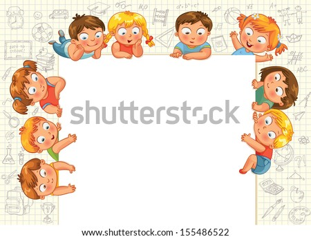 Cute little kids show a blank poster for your text entry. Vector illustration - stock vector