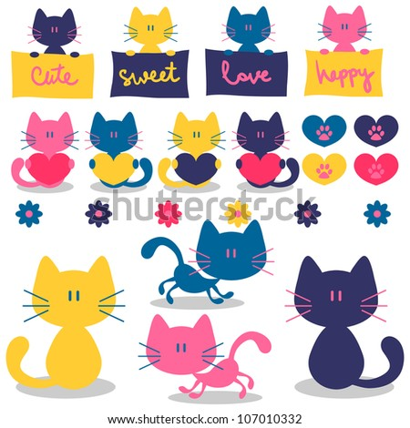Cute little kittens romantic elements set - stock vector