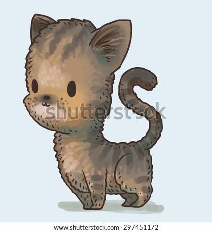 Cute little kitty, vector - stock vector