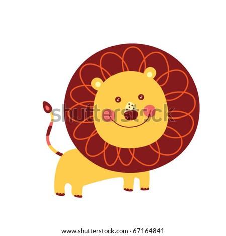 cute little lion - stock vector