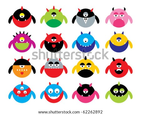 cute little monster collection - stock vector