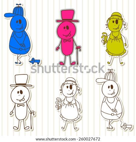 Cute little monsters. Halloween funny kids. Vector illustration - stock vector