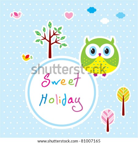cute little owl sweet holiday - stock vector